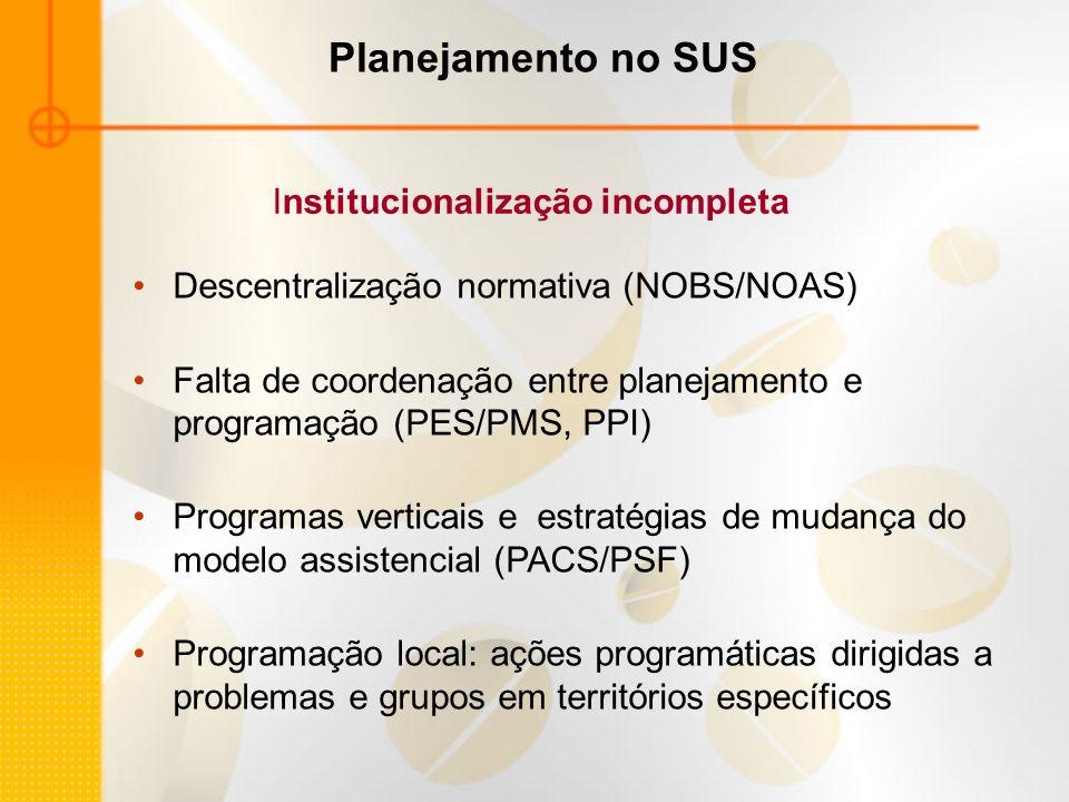 Planejamento no SUS Descentralização normativa (NOBS/NOAS) Falta de coordenação entre planejamento e programação (PES/PMS, PPI) Programas verticais e