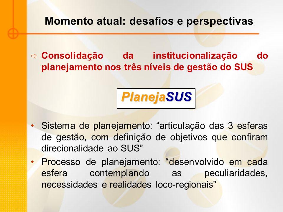 Momento atual: desafios e perspectivas Consolidação da institucionalização do planejamento nos três níveis de gestão do SUS PlanejaSUS Sistema de plan