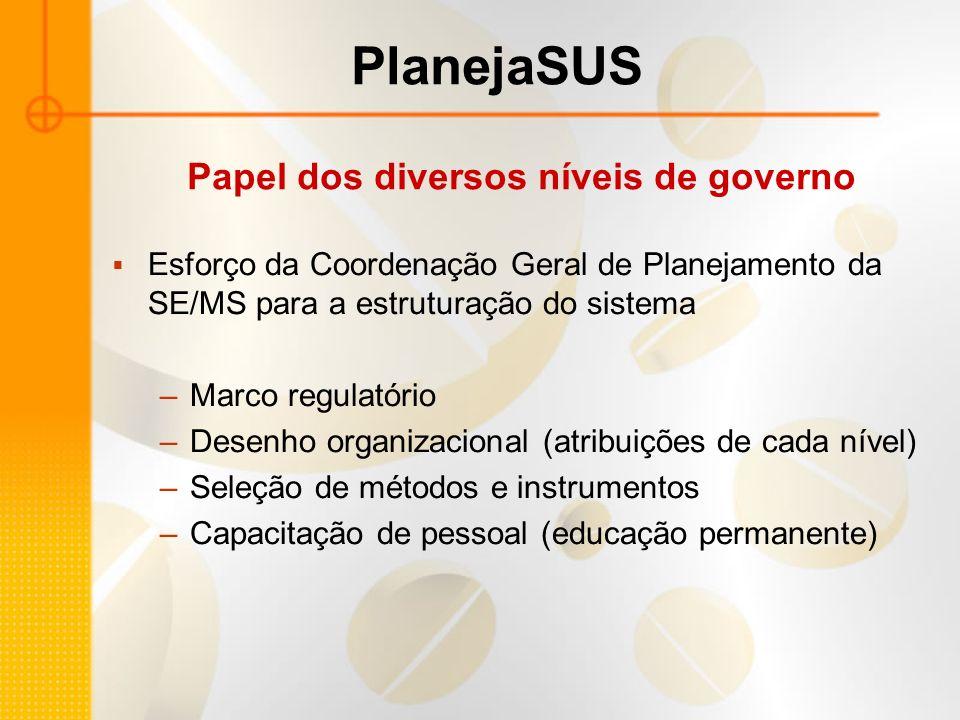 Esforço da Coordenação Geral de Planejamento da SE/MS para a estruturação do sistema –Marco regulatório –Desenho organizacional (atribuições de cada n