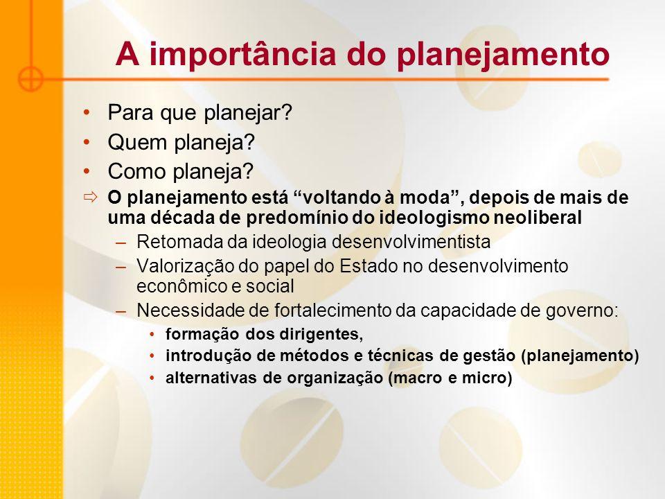 A importância do planejamento Para que planejar? Quem planeja? Como planeja? O planejamento está voltando à moda, depois de mais de uma década de pred