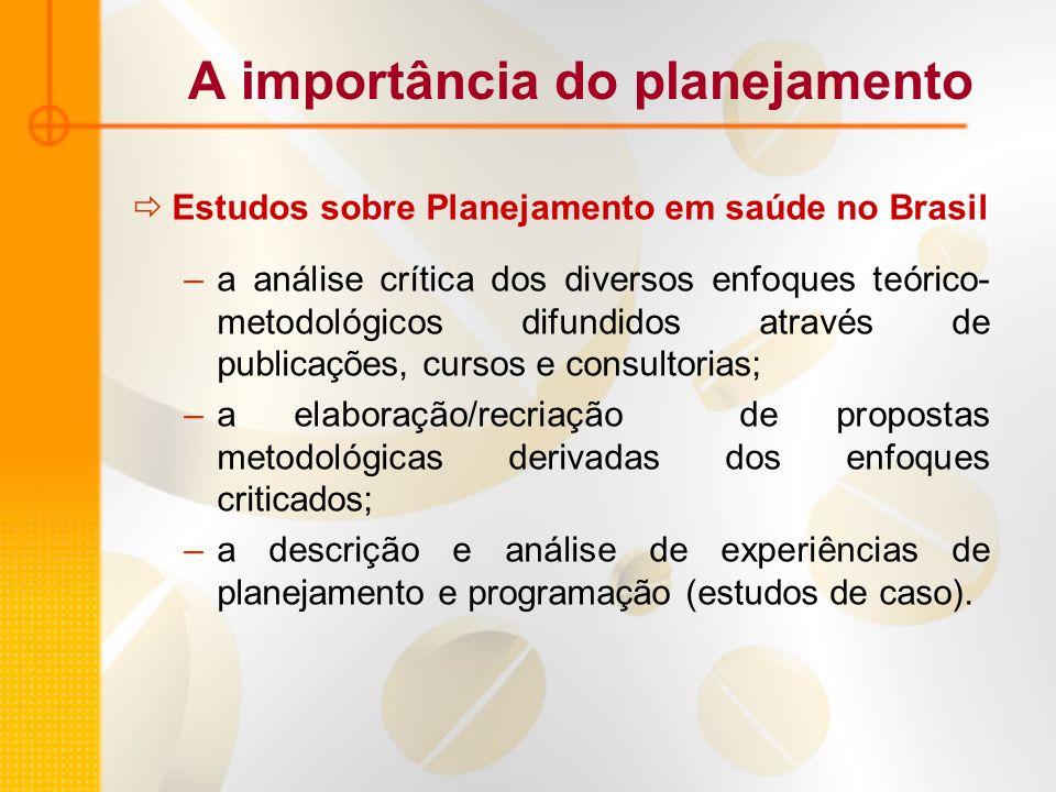 A importância do planejamento Estudos sobre Planejamento em saúde no Brasil –a análise crítica dos diversos enfoques teórico- metodológicos difundidos