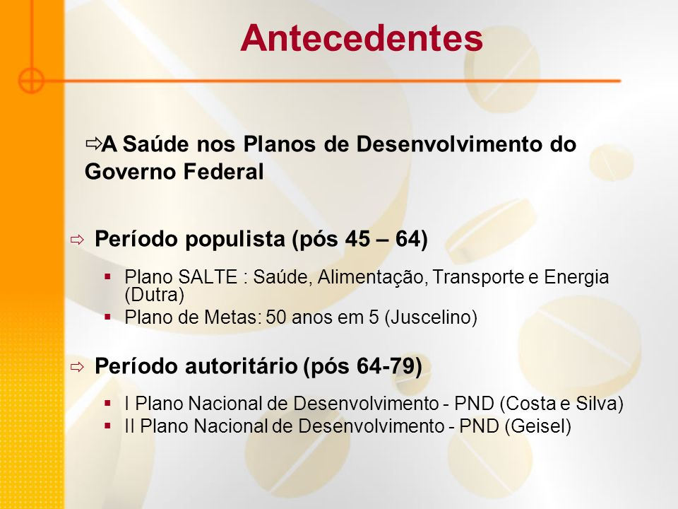 Antecedentes Período populista (pós 45 – 64) Plano SALTE : Saúde, Alimentação, Transporte e Energia (Dutra) Plano de Metas: 50 anos em 5 (Juscelino) P