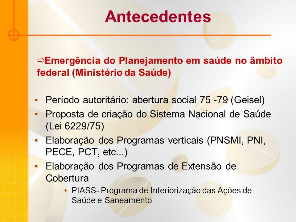Período autoritário: abertura social 75 -79 (Geisel) Proposta de criação do Sistema Nacional de Saúde (Lei 6229/75) Elaboração dos Programas verticais