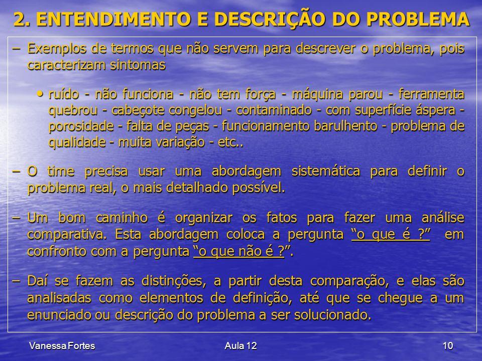 Vanessa FortesAula 1210 2. ENTENDIMENTO E DESCRIÇÃO DO PROBLEMA –Exemplos de termos que não servem para descrever o problema, pois caracterizam sintom