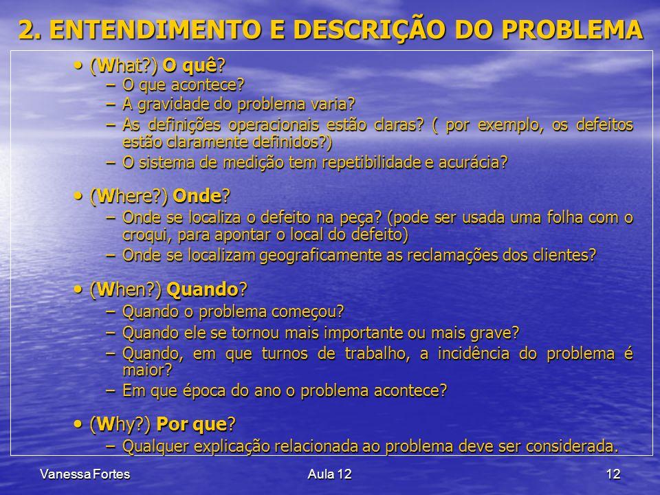 Vanessa FortesAula 1212 2. ENTENDIMENTO E DESCRIÇÃO DO PROBLEMA (What?) O quê? (What?) O quê? –O que acontece? –A gravidade do problema varia? –As def