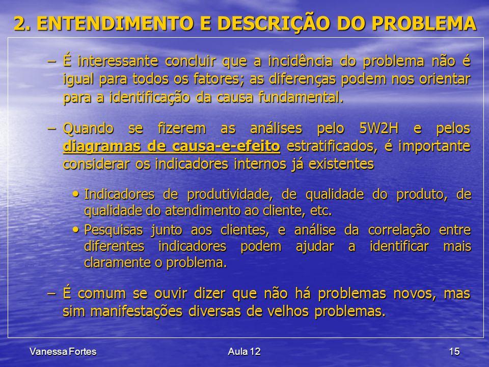 Vanessa FortesAula 1215 2. ENTENDIMENTO E DESCRIÇÃO DO PROBLEMA –É interessante concluir que a incidência do problema não é igual para todos os fatore