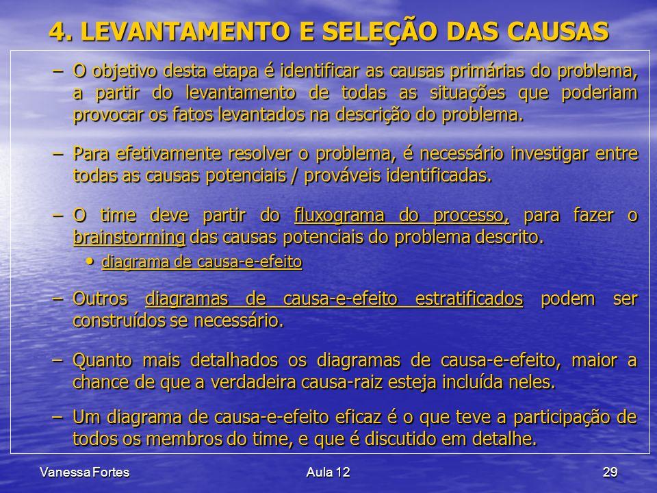 Vanessa FortesAula 1229 4. LEVANTAMENTO E SELEÇÃO DAS CAUSAS –O objetivo desta etapa é identificar as causas primárias do problema, a partir do levant