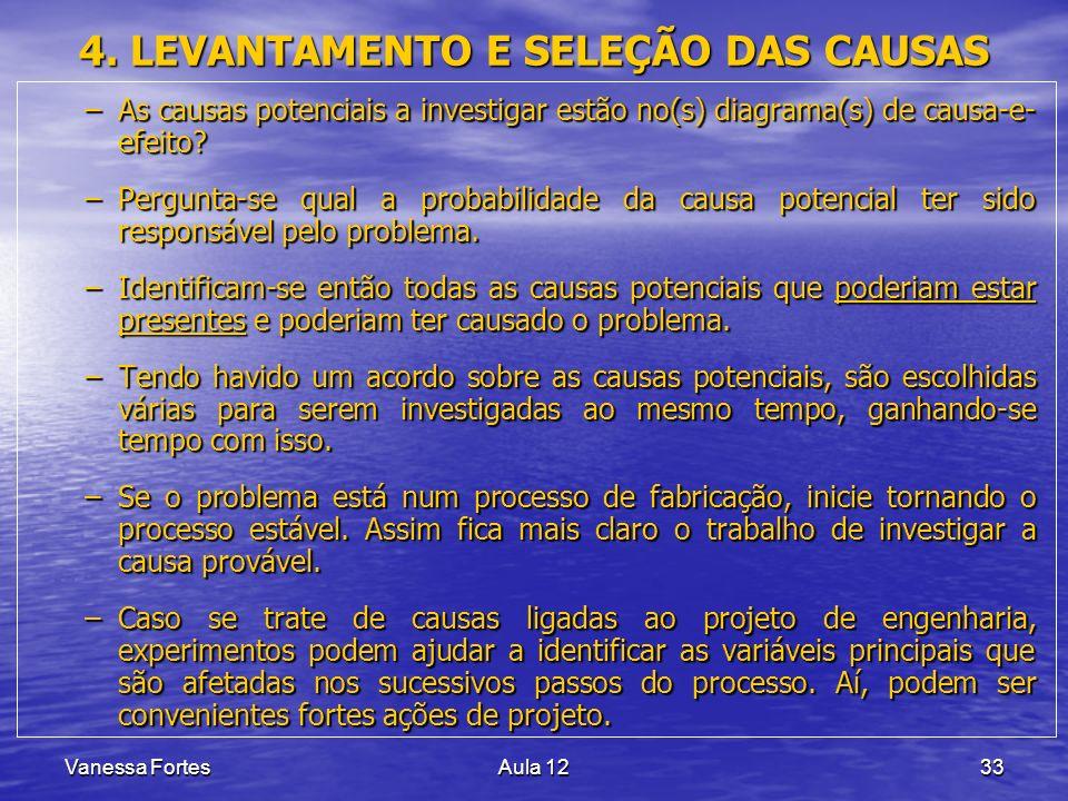 Vanessa FortesAula 1233 4. LEVANTAMENTO E SELEÇÃO DAS CAUSAS –As causas potenciais a investigar estão no(s) diagrama(s) de causa-e- efeito? –Pergunta-