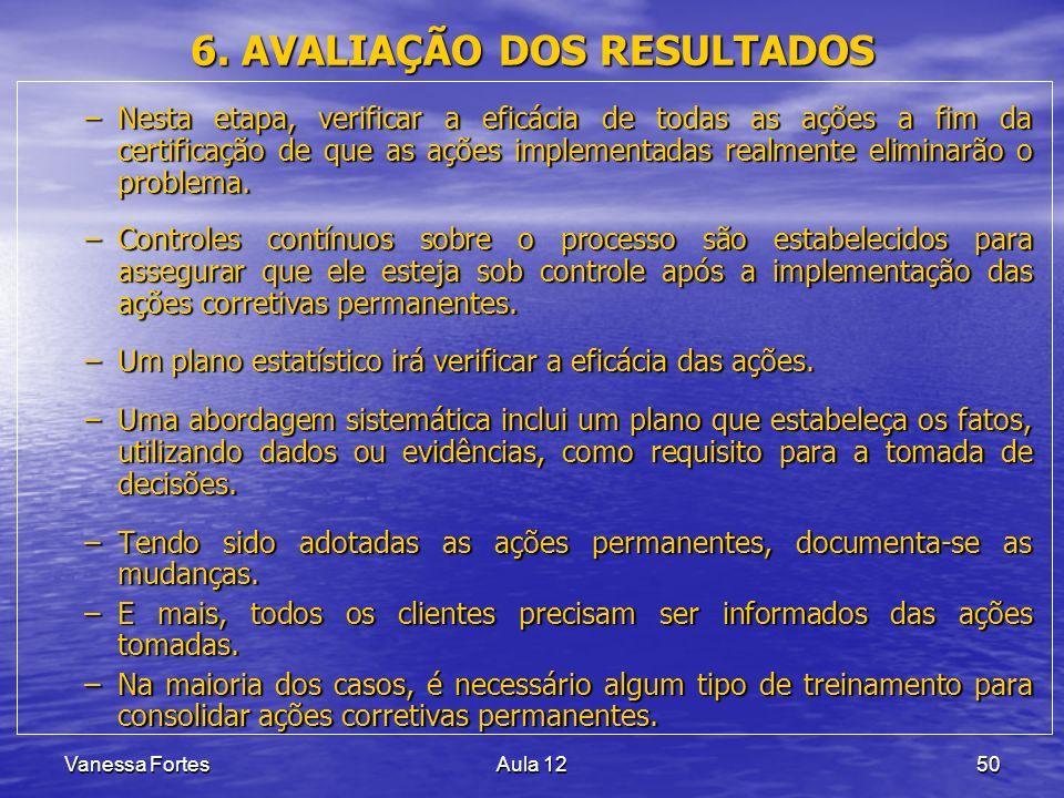 Vanessa FortesAula 1250 6. AVALIAÇÃO DOS RESULTADOS –Nesta etapa, verificar a eficácia de todas as ações a fim da certificação de que as ações impleme
