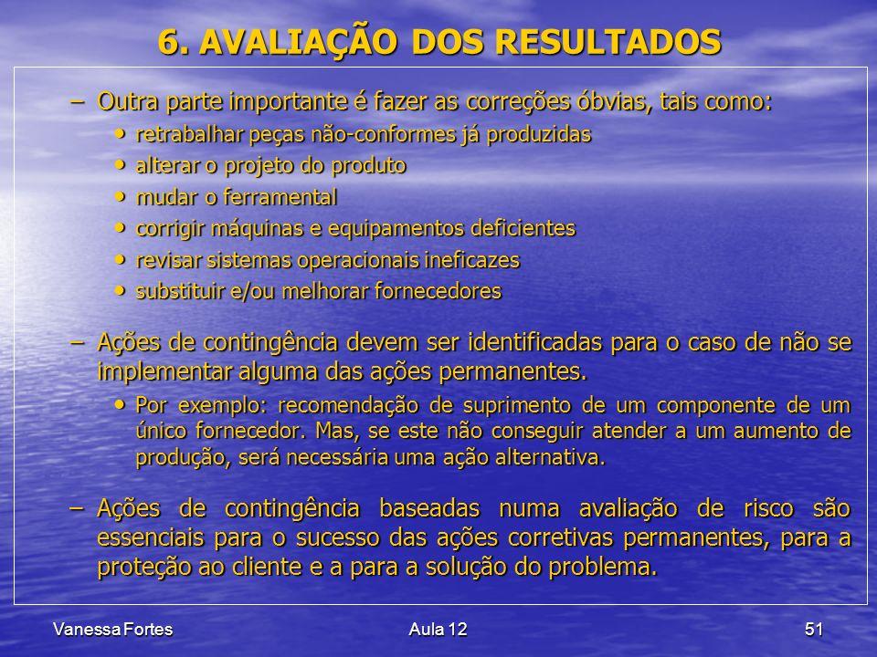 Vanessa FortesAula 1251 6. AVALIAÇÃO DOS RESULTADOS –Outra parte importante é fazer as correções óbvias, tais como: retrabalhar peças não-conformes já