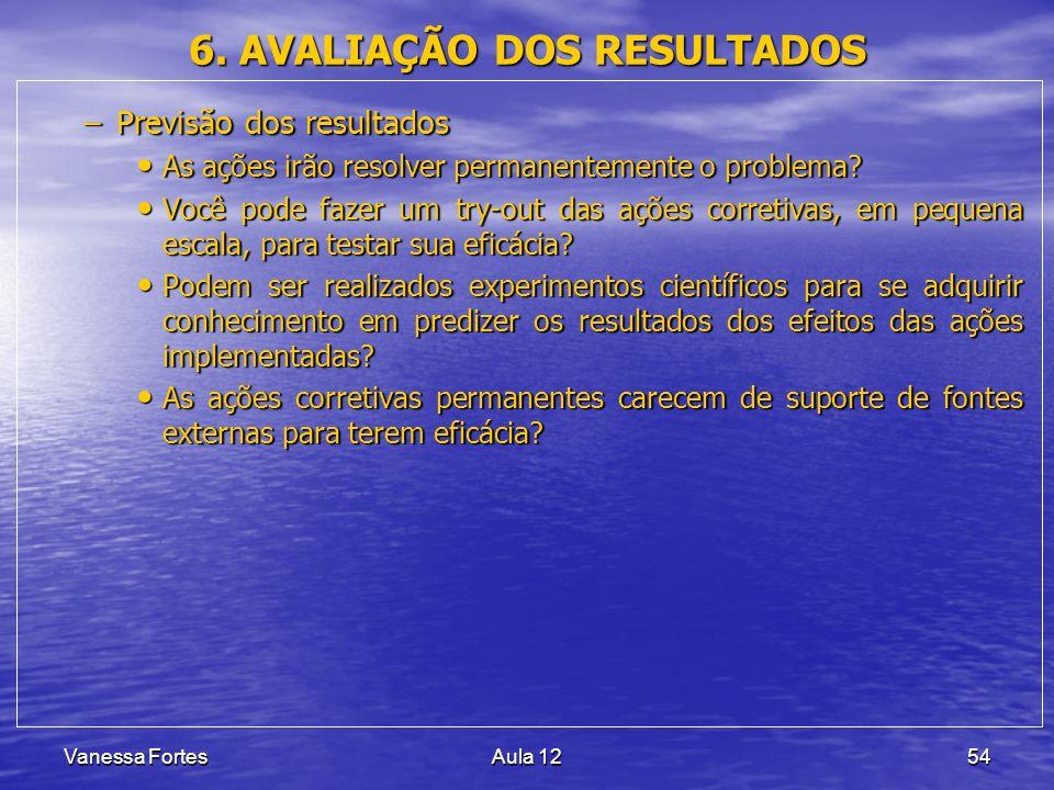 Vanessa FortesAula 1254 6. AVALIAÇÃO DOS RESULTADOS –Previsão dos resultados As ações irão resolver permanentemente o problema? As ações irão resolver