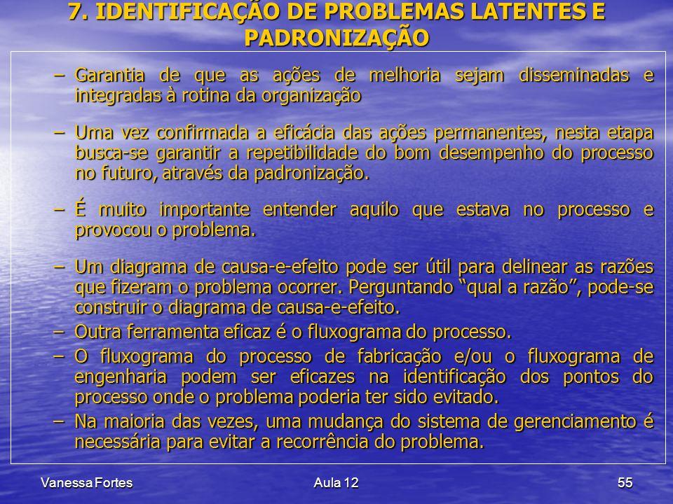Vanessa FortesAula 1255 7. IDENTIFICAÇÃO DE PROBLEMAS LATENTES E PADRONIZAÇÃO –Garantia de que as ações de melhoria sejam disseminadas e integradas à