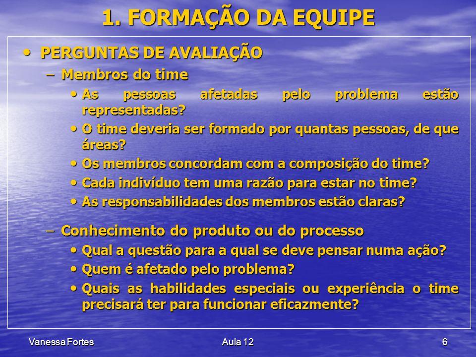 Vanessa FortesAula 126 1. FORMAÇÃO DA EQUIPE PERGUNTAS DE AVALIAÇÃO PERGUNTAS DE AVALIAÇÃO –Membros do time As pessoas afetadas pelo problema estão re
