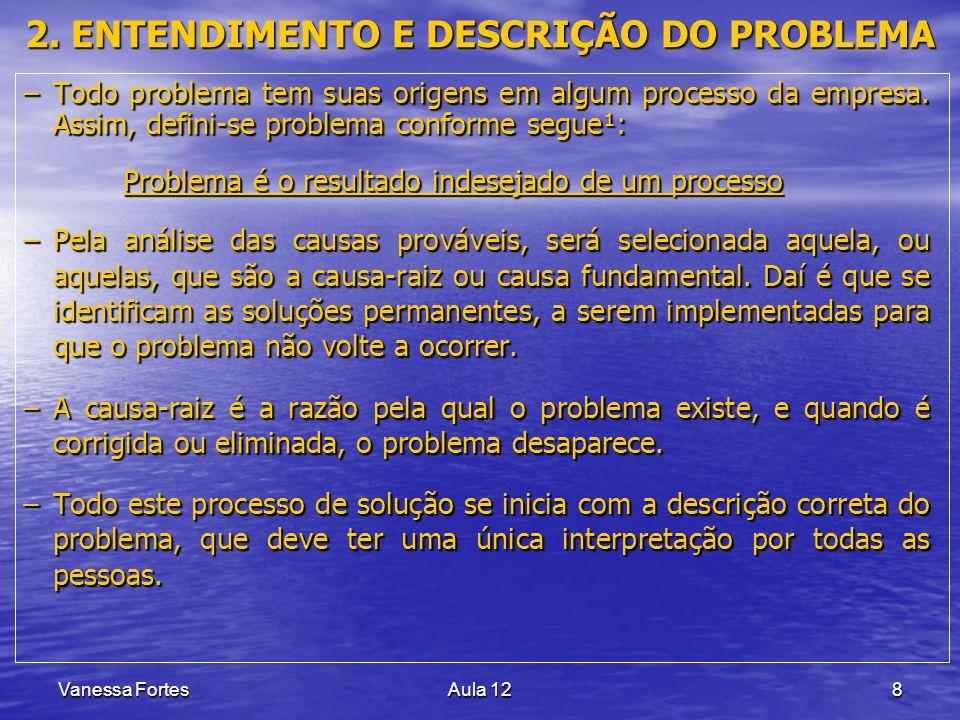 Vanessa FortesAula 128 2. ENTENDIMENTO E DESCRIÇÃO DO PROBLEMA –Todo problema tem suas origens em algum processo da empresa. Assim, defini-se problema