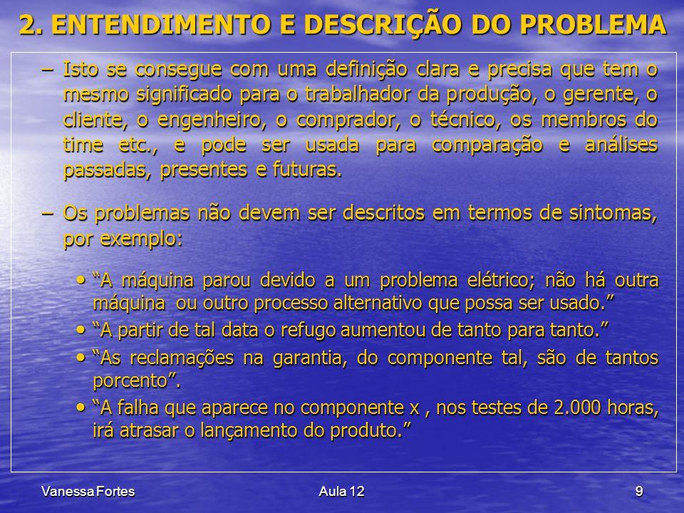 Vanessa FortesAula 129 2. ENTENDIMENTO E DESCRIÇÃO DO PROBLEMA –Isto se consegue com uma definição clara e precisa que tem o mesmo significado para o