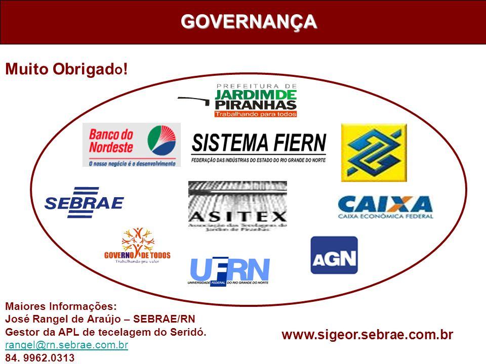 GOVERNANÇA Maiores Informações: José Rangel de Araújo – SEBRAE/RN Gestor da APL de tecelagem do Seridó. rangel@rn.sebrae.com.br 84. 9962.0313 www.sige