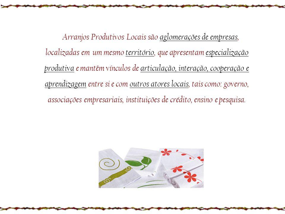 z Arranjos Produtivos Locais são aglomerações de empresas, localizadas em um mesmo território, que apresentam especialização produtiva e mantêm víncul