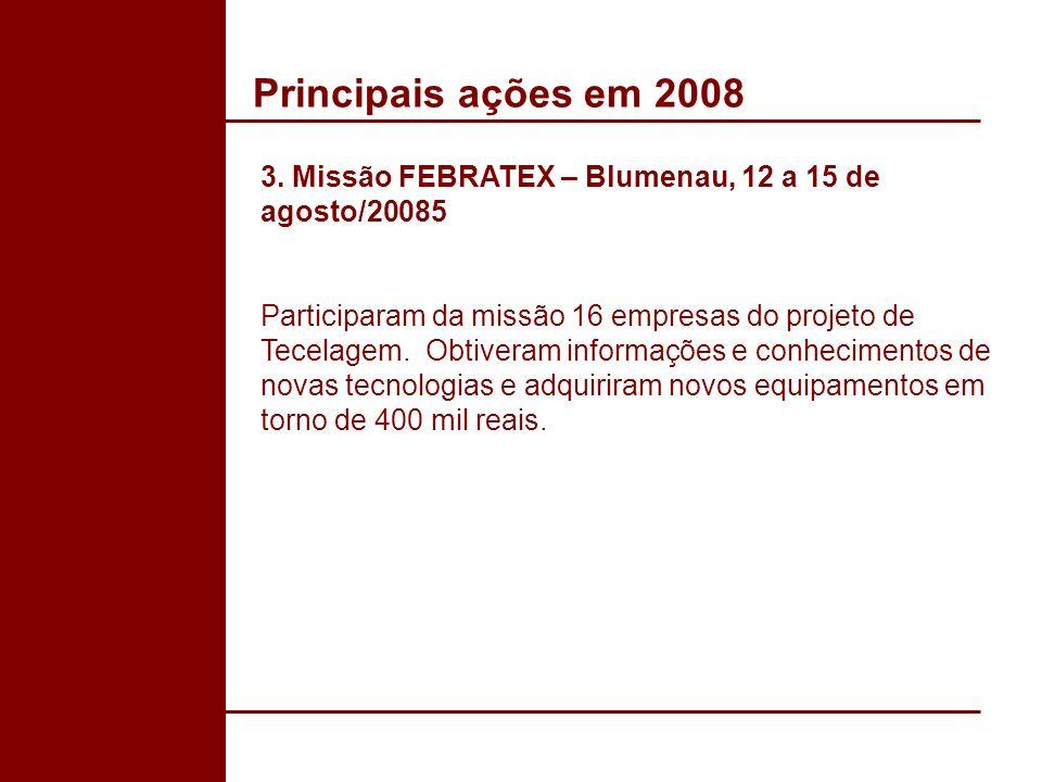 Principais ações em 2008 3. Missão FEBRATEX – Blumenau, 12 a 15 de agosto/20085 Participaram da missão 16 empresas do projeto de Tecelagem. Obtiveram