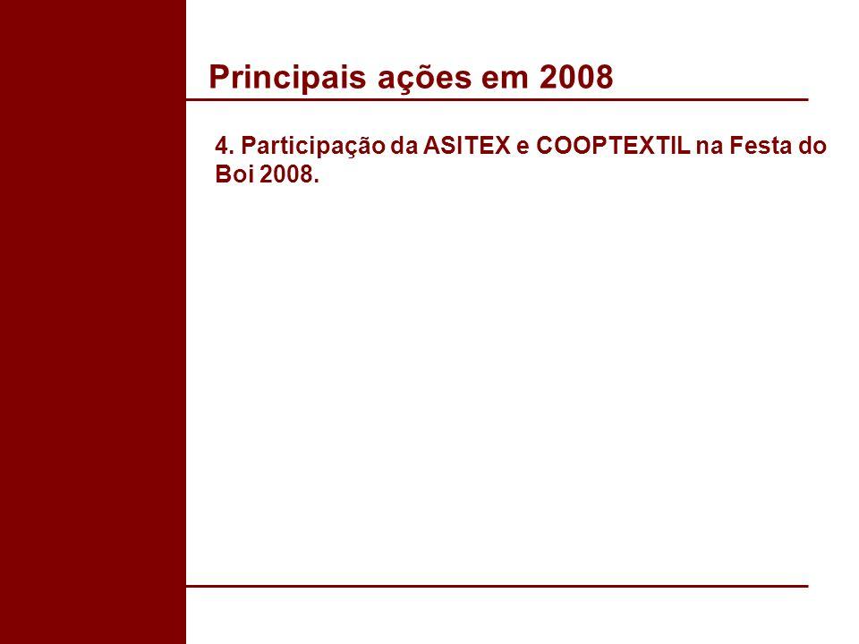 Principais ações em 2008 4. Participação da ASITEX e COOPTEXTIL na Festa do Boi 2008.