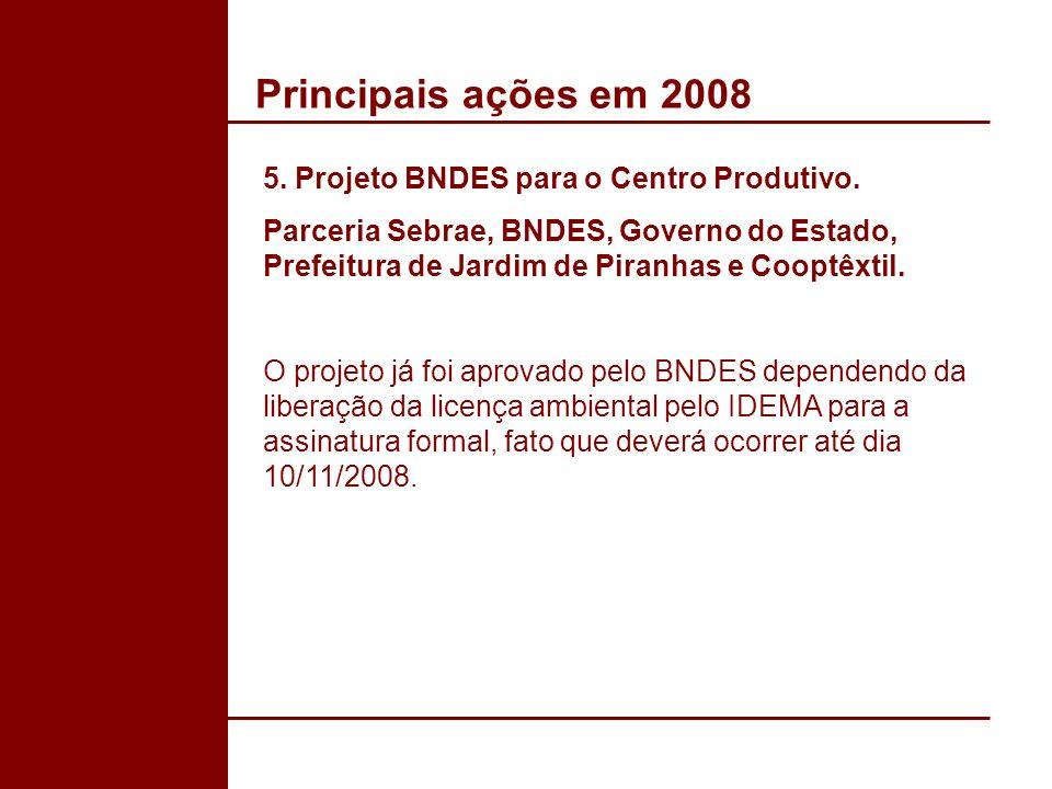 Principais ações em 2008 5. Projeto BNDES para o Centro Produtivo. Parceria Sebrae, BNDES, Governo do Estado, Prefeitura de Jardim de Piranhas e Coopt