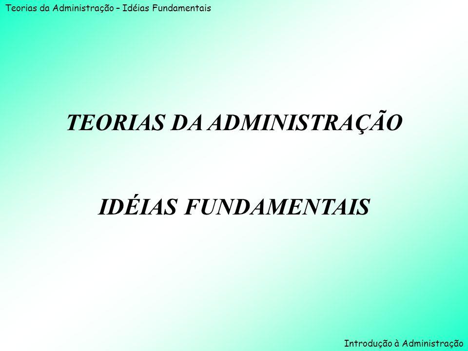 Teorias da Administração – Idéias Fundamentais Introdução à Administração TEORIAS DA ADMINISTRAÇÃO IDÉIAS FUNDAMENTAIS