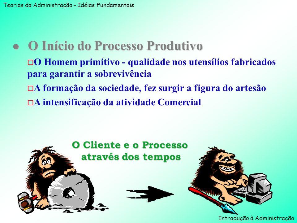 Teorias da Administração – Idéias Fundamentais Introdução à Administração l O Início do Processo Produtivo o O Homem primitivo - qualidade nos utensíl