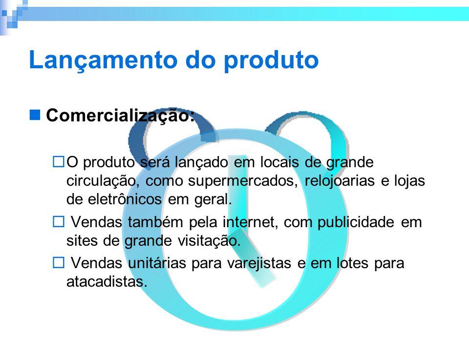 Lançamento do produto Comercialização: O produto será lançado em locais de grande circulação, como supermercados, relojoarias e lojas de eletrônicos e