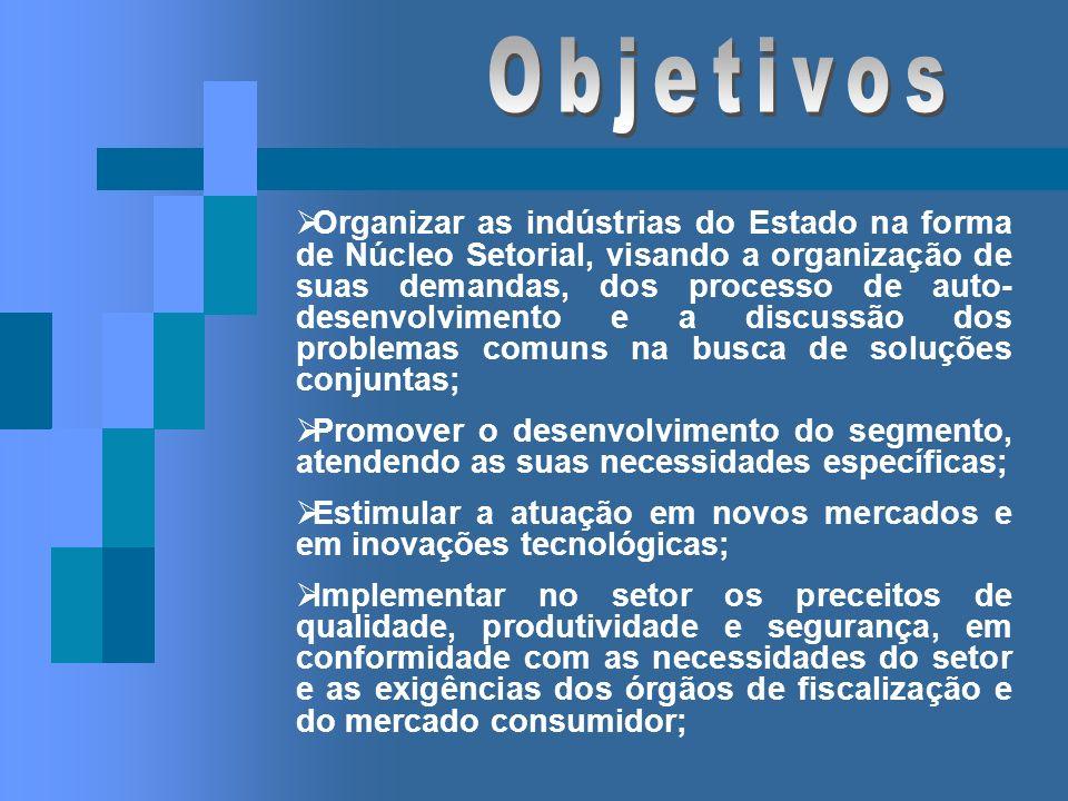 Organizar as indústrias do Estado na forma de Núcleo Setorial, visando a organização de suas demandas, dos processo de auto- desenvolvimento e a discu