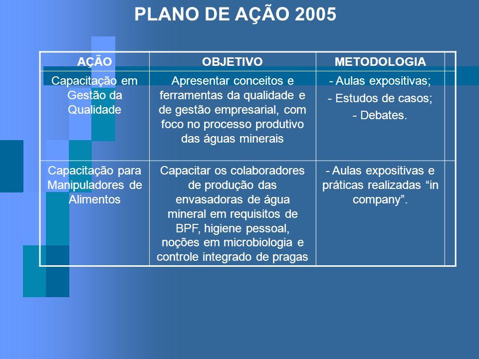 PLANO DE AÇÃO 2005 AÇÃOOBJETIVOMETODOLOGIA Capacitação em Gestão da Qualidade Apresentar conceitos e ferramentas da qualidade e de gestão empresarial,