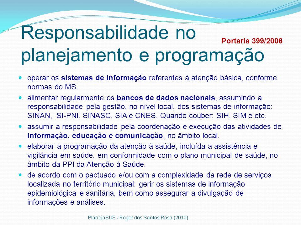 Responsabilidade no planejamento e programação operar os sistemas de informação referentes à atenção básica, conforme normas do MS. alimentar regularm