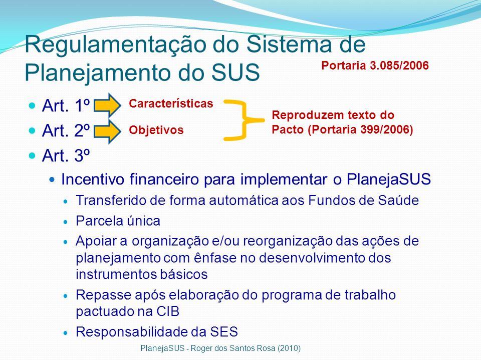 Regulamentação do Sistema de Planejamento do SUS Art. 1º Art. 2º Art. 3º Incentivo financeiro para implementar o PlanejaSUS Transferido de forma autom