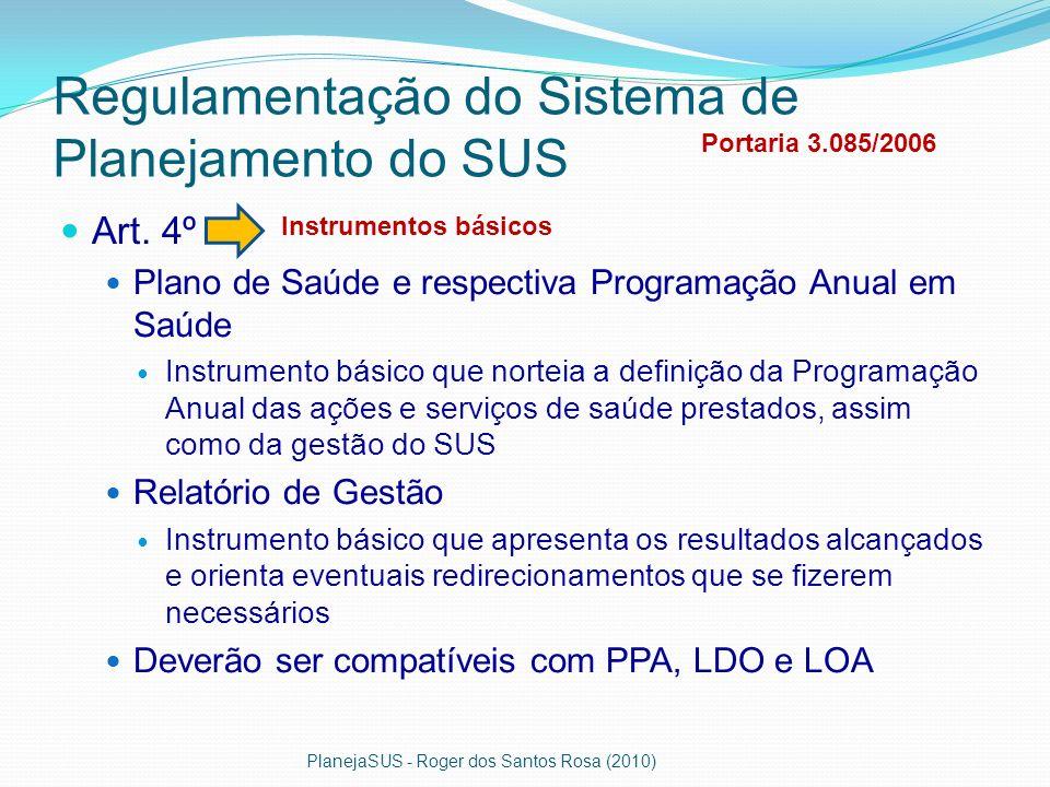 Regulamentação do Sistema de Planejamento do SUS Art. 4º Plano de Saúde e respectiva Programação Anual em Saúde Instrumento básico que norteia a defin