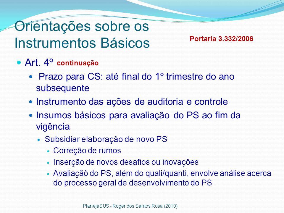 Orientações sobre os Instrumentos Básicos Art. 4º Prazo para CS: até final do 1º trimestre do ano subsequente Instrumento das ações de auditoria e con