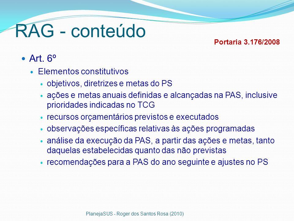 RAG - conteúdo Art. 6º Elementos constitutivos objetivos, diretrizes e metas do PS ações e metas anuais definidas e alcançadas na PAS, inclusive prior
