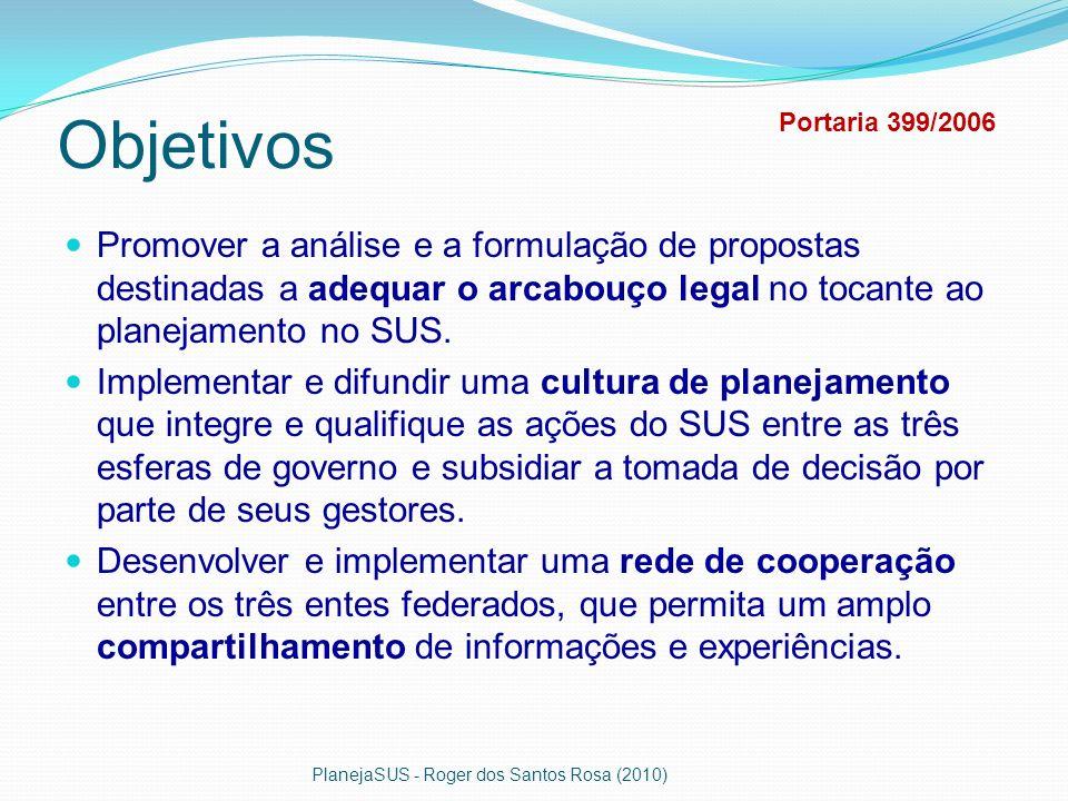 Objetivos Promover a análise e a formulação de propostas destinadas a adequar o arcabouço legal no tocante ao planejamento no SUS. Implementar e difun