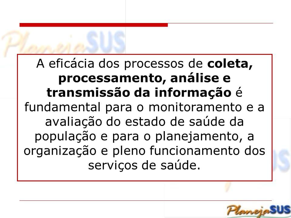 A eficácia dos processos de coleta, processamento, análise e transmissão da informação é fundamental para o monitoramento e a avaliação do estado de s