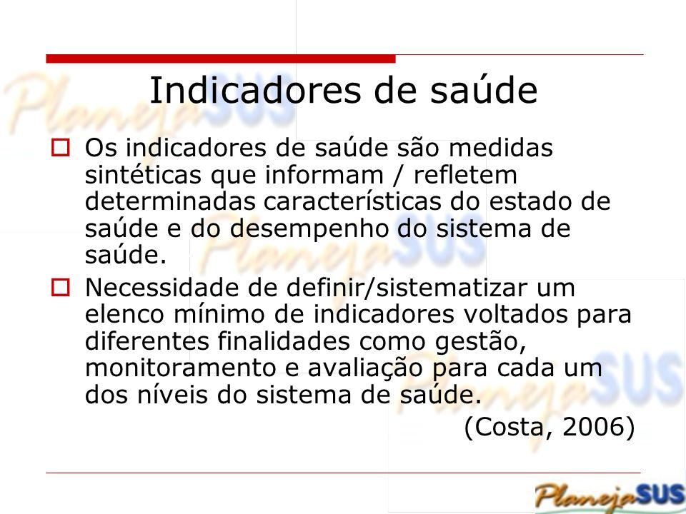 Indicadores de saúde Os indicadores de saúde são medidas sintéticas que informam / refletem determinadas características do estado de saúde e do desem