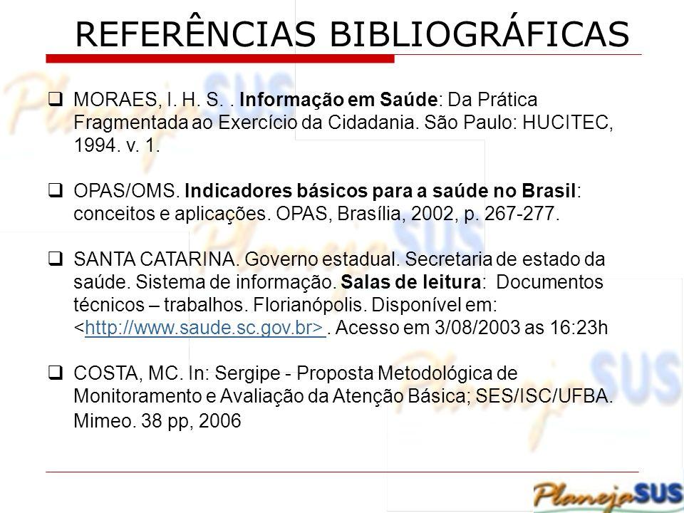 REFERÊNCIAS BIBLIOGRÁFICAS MORAES, I. H. S.. Informação em Saúde: Da Prática Fragmentada ao Exercício da Cidadania. São Paulo: HUCITEC, 1994. v. 1. OP