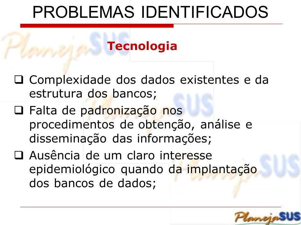 Tecnologia Complexidade dos dados existentes e da estrutura dos bancos; Falta de padronização nos procedimentos de obtenção, análise e disseminação da