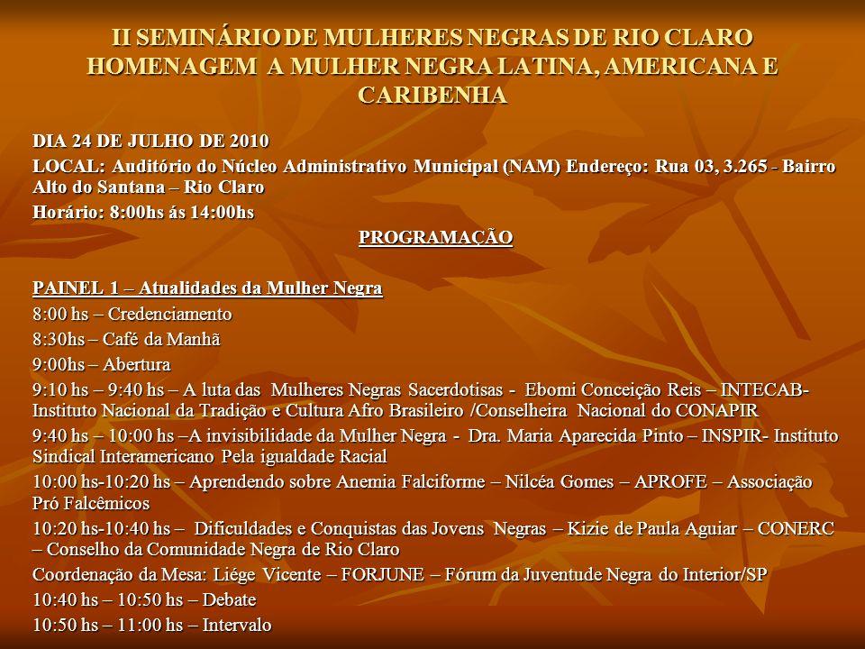 II SEMINÁRIO DE MULHERES NEGRAS DE RIO CLARO HOMENAGEM A MULHER NEGRA LATINA, AMERICANA E CARIBENHA PAINEL 2 - Mulheres Negras no Poder PAINEL 2 - Mulheres Negras no Poder 11:00hs – 11:20hs - Professora Roseli de Oliveira – Coordenação de Políticas Negra e Indígena do Estado de SP 11:00hs – 11:20hs - Professora Roseli de Oliveira – Coordenação de Políticas Negra e Indígena do Estado de SP 11:20hs – 11:40hs – Ana José Lopes – Fórum Nacional de Mulheres Negras 11:20hs – 11:40hs – Ana José Lopes – Fórum Nacional de Mulheres Negras 11:40hs – 12:00hs - Solange Silva – Coordenadoria da Igualdade Racial de Várzea Paulista 11:40hs – 12:00hs - Solange Silva – Coordenadoria da Igualdade Racial de Várzea Paulista 12:00hs – 12:20 hs - Alessandra de Cássia Laurindo -Coordenadora Executiva Especial de Promoção da Igualdade Racial de Araraquara 12:00hs – 12:20 hs - Alessandra de Cássia Laurindo -Coordenadora Executiva Especial de Promoção da Igualdade Racial de Araraquara Coordenação da Mesa: Divanilde Aguiar – Palmares Mulheres Negras de Rio Claro Coordenação da Mesa: Divanilde Aguiar – Palmares Mulheres Negras de Rio Claro 12:20 hs – 12:30 – Debate 12:20 hs – 12:30 – Debate 12:30 – Considerações Finais 12:30 – Considerações Finais 12:40 – Apresentação Cultural 12:40 – Apresentação Cultural 12:50 – Almoço de Confraternização 12:50 – Almoço de Confraternização REALIZAÇÃO: PALMARES MULHERES NEGRAS DE RIO CLARO REALIZAÇÃO: PALMARES MULHERES NEGRAS DE RIO CLARO APOIO: PREFEITURA MUNICIPAL DE RIO CLARO APOIO: PREFEITURA MUNICIPAL DE RIO CLARO CONERC – CONSELHO DA COMUNIDADE NEGRA DE RIO CLARO CONERC – CONSELHO DA COMUNIDADE NEGRA DE RIO CLARO GRUPO DE MULHERES NEGRAS NZINGA MBANDI GRUPO DE MULHERES NEGRAS NZINGA MBANDI SINDICATO DOS QUÍMICOS DE RIO CLARO SINDICATO DOS QUÍMICOS DE RIO CLARO FÓRUM NACIONAL DE MULHERES NEGRAS FÓRUM NACIONAL DE MULHERES NEGRAS FORJUNE – FÓRUM DA JUVENTUDE NEGRA DO INTERIOR/SP FORJUNE – FÓRUM DA JUVENTUDE NEGRA DO INTERIOR/SP