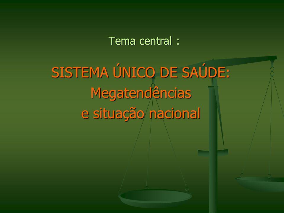 Tema central : SISTEMA ÚNICO DE SAÚDE: Megatendências e situação nacional