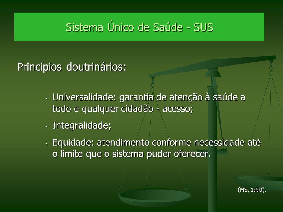 Sistema Único de Saúde - SUS Princípios doutrinários: - Universalidade: garantia de atenção à saúde a todo e qualquer cidadão - acesso; - Integralidad