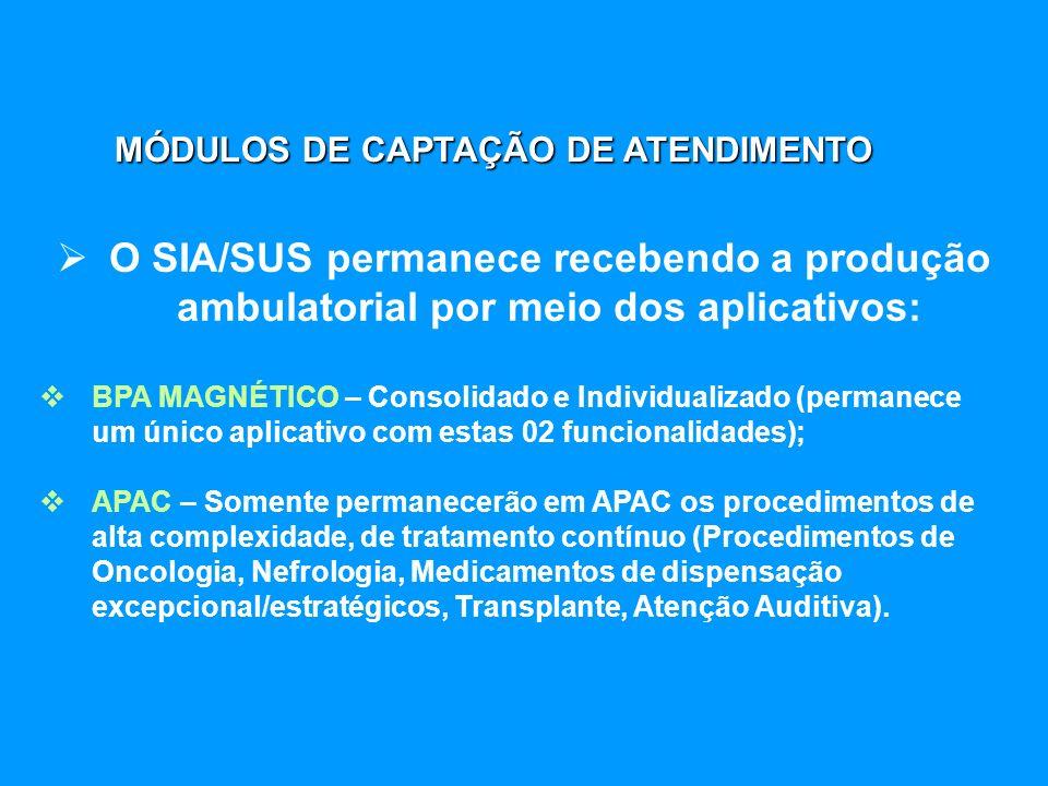 O SIA/SUS permanece recebendo a produção ambulatorial por meio dos aplicativos: BPA MAGNÉTICO – Consolidado e Individualizado (permanece um único apli