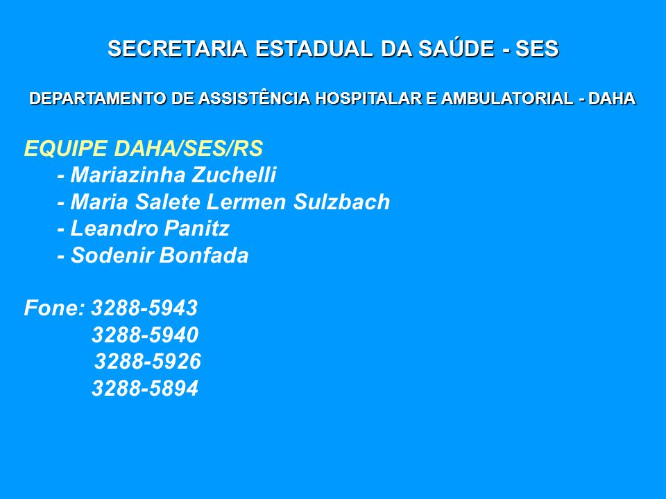 SECRETARIA ESTADUAL DA SAÚDE - SES DEPARTAMENTO DE ASSISTÊNCIA HOSPITALAR E AMBULATORIAL - DAHA EQUIPE DAHA/SES/RS - Mariazinha Zuchelli - Maria Salet