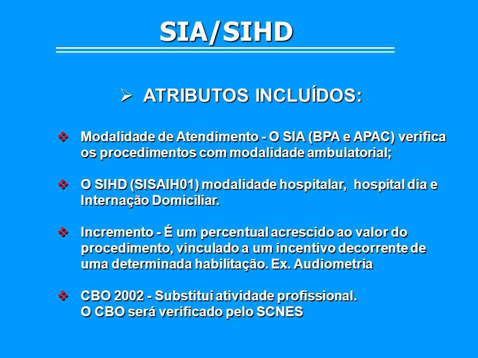 ATRIBUTOS INCLUÍDOS: ATRIBUTOS INCLUÍDOS: Modalidade de Atendimento - O SIA (BPA e APAC) verifica os procedimentos com modalidade ambulatorial; Modali
