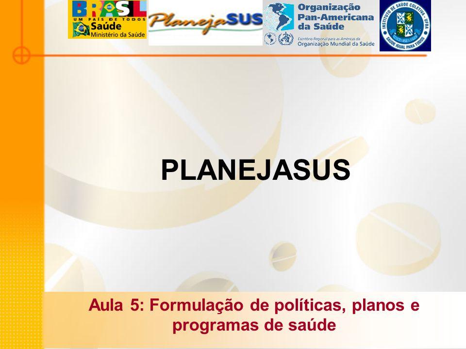 PLANEJASUS Aula 5: Formulação de políticas, planos e programas de saúde