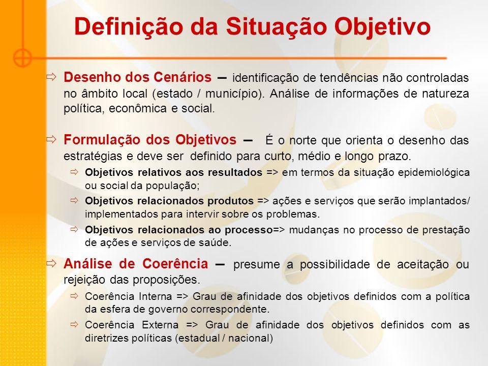 Definição da Situação Objetivo Desenho dos Cenários – identificação de tendências não controladas no âmbito local (estado / município). Análise de inf