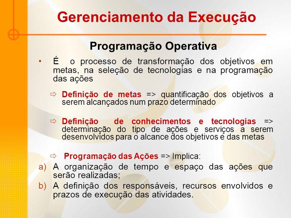 Programação Operativa É o processo de transformação dos objetivos em metas, na seleção de tecnologias e na programação das ações Definição de metas =>