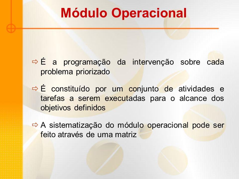Módulo Operacional É a programação da intervenção sobre cada problema priorizado É constituído por um conjunto de atividades e tarefas a serem executa