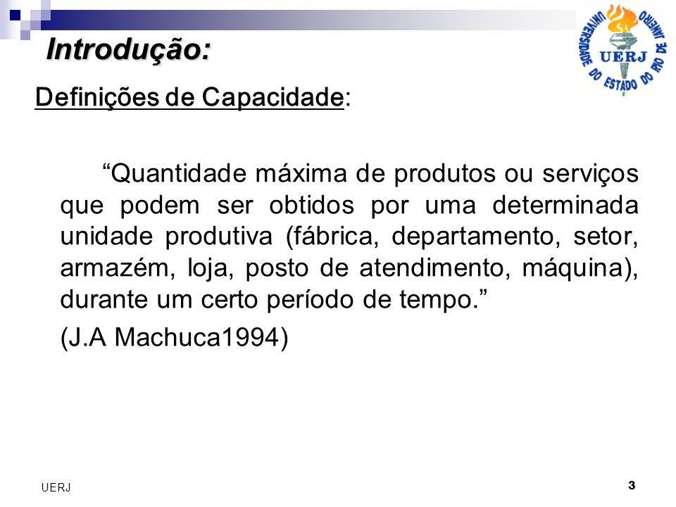 3 UERJ Introdução: Definições de Capacidade: Quantidade máxima de produtos ou serviços que podem ser obtidos por uma determinada unidade produtiva (fá
